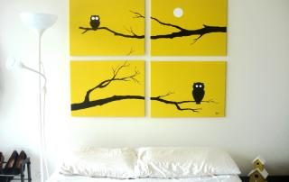 Yellow owls wall art