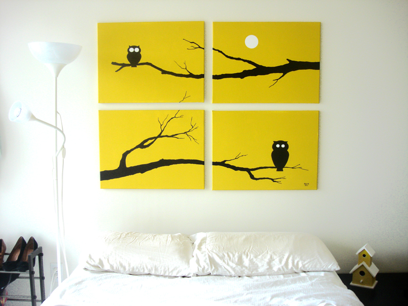 Yellow owls wall art