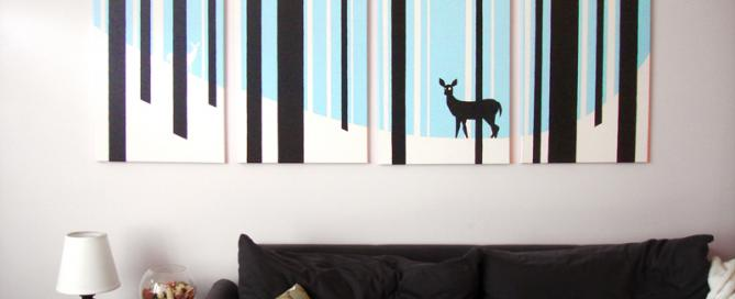 Deer blue and white winter painting for sale by Ricky Colson