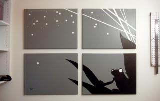 Frog black and white night painting for sale by Ricky Colson