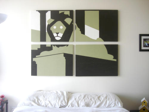 Lion statue green black modern painting for sale by Ricky Colson
