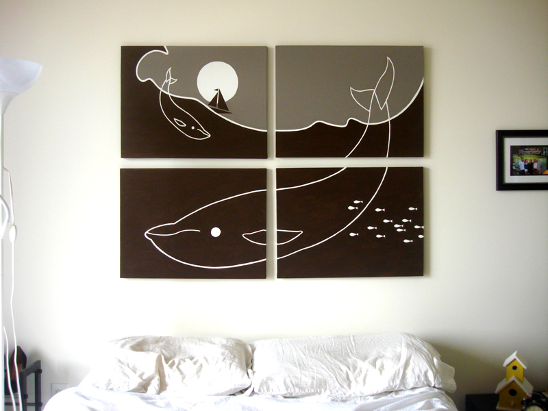 Whales gray modern painting for sale by Ricky Colson