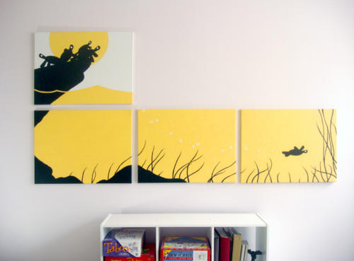 Yellow turtle silhouette modern painting for sale by Ricky Colson
