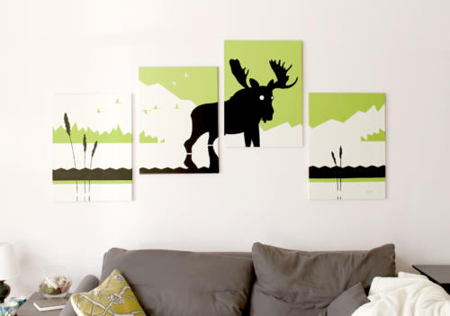 Green moose silhouette modern painting for sale by Ricky Colson