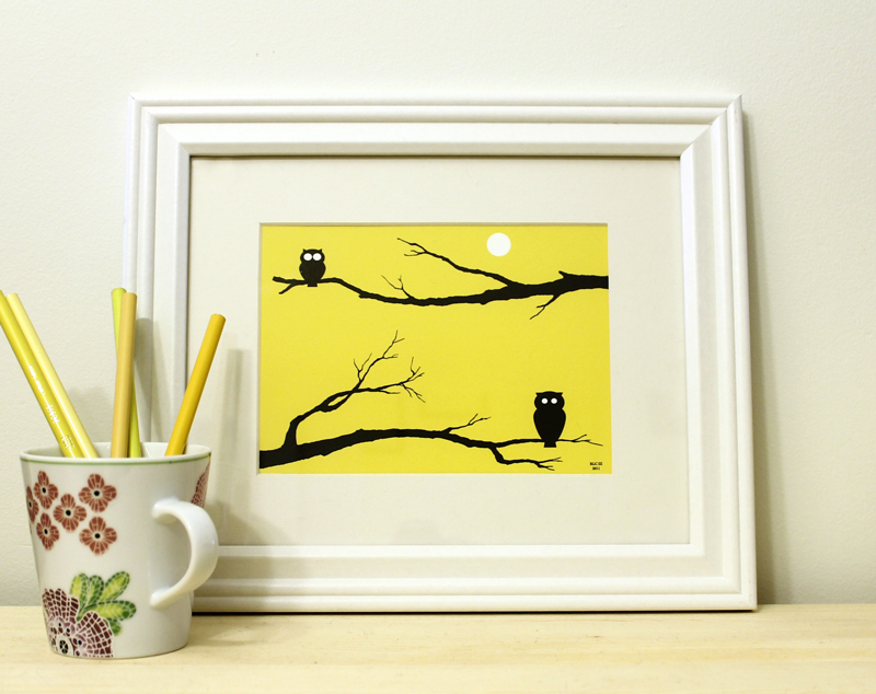 Yellow owl framed art print for sale by Ricky Colson