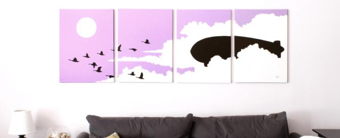 Pink birds flying painting for sale by Ricky Colson