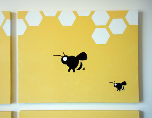 Yellow honey bee wall art for sale by Ricky Colson