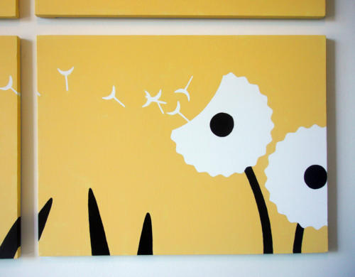 Yellow dandelion flower modern wall art for sale by Ricky Colson