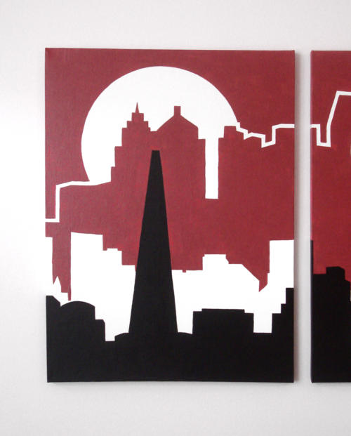 Red city skyline silhouette painting by Ricky Colson