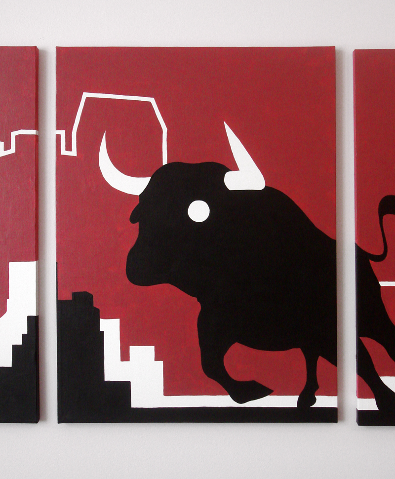 Red bull modern painting wall art for sale by Ricky Colson