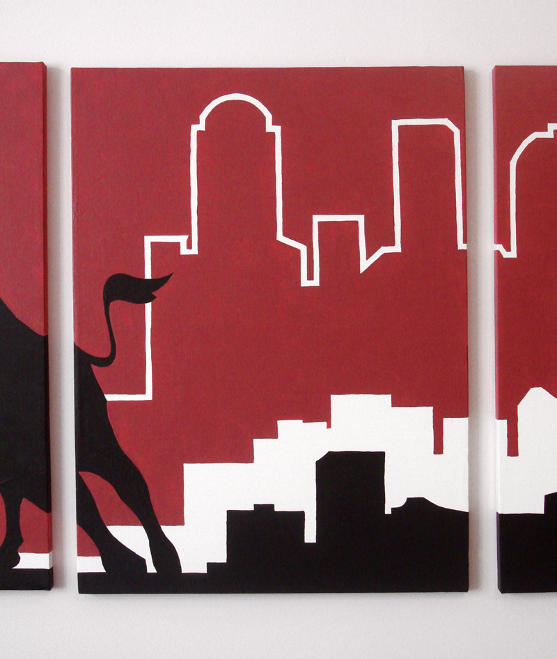 Chicago skyline modern painting design by Ricky Colson