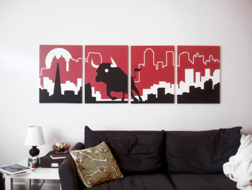 Red bull skyline modern painting for sale by Ricky Colson