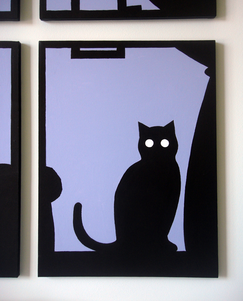 Cat silhouette abstract wall art by Ricky Colson