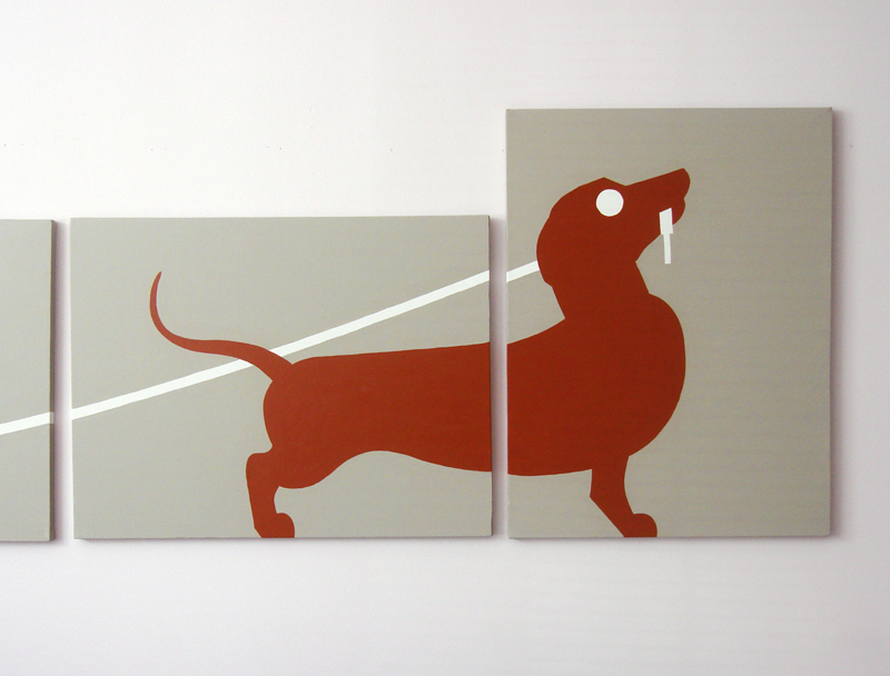 Dachshund red wiener dog modern four panel painting for sale by Ricky Colson
