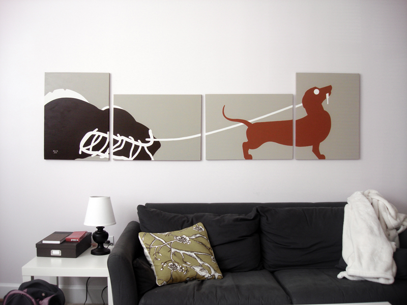 Red dachshund modern abstract painting for sale by Ricky Colson