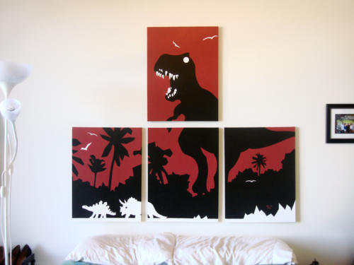 Dinosaur t rex red painting for sale by Ricky Colson