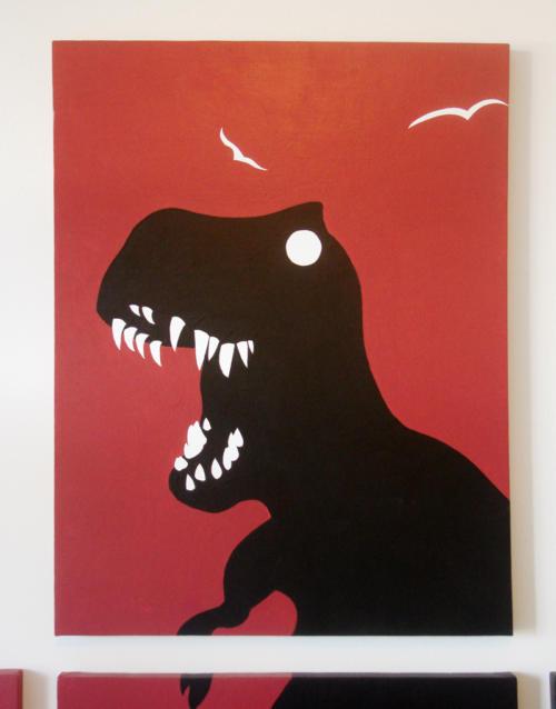 Dinosaur t rex red black kids room wall art by Ricky Colson