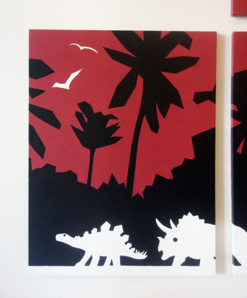 Dinosaur red and black abstract modern wall art by Ricky Colson