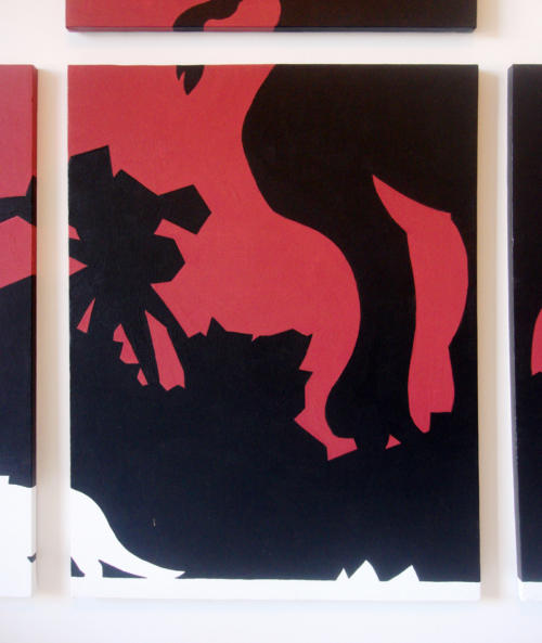 T-rex black and red abstract wall art by Ricky Colson