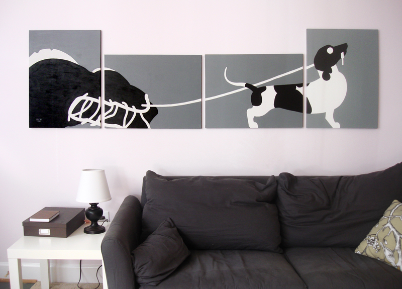 Dachshund black and white modern painting for sale by Ricky Colson
