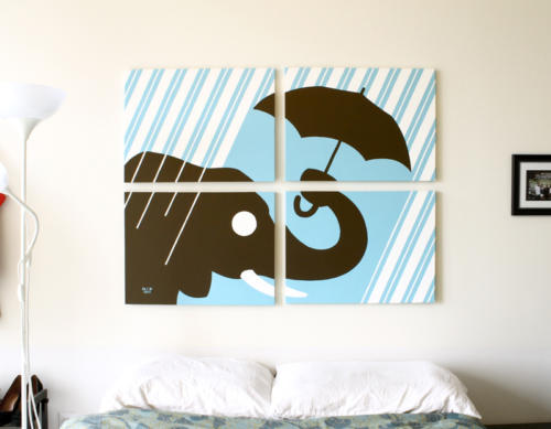 Striped blue elephant rain painting for sale by Ricky Colson