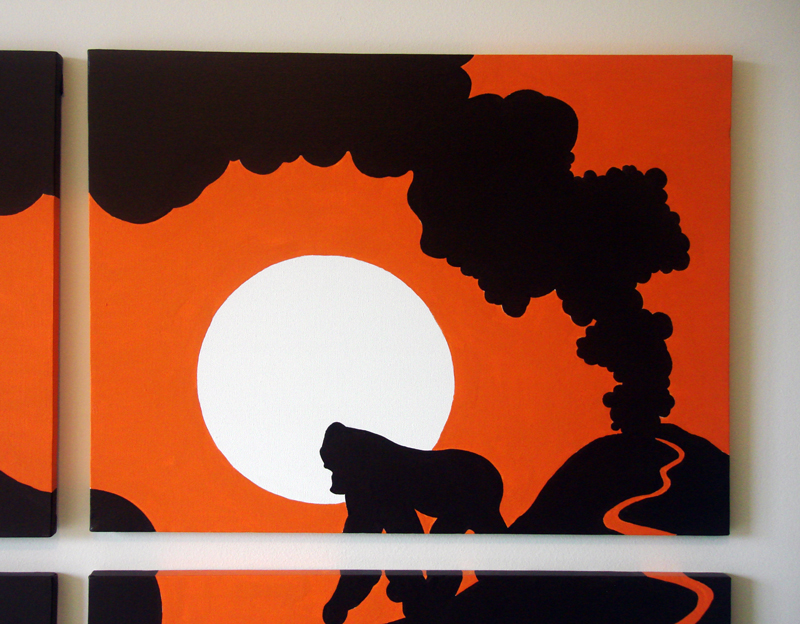 Orange sun gorilla volcano wall art design by Ricky Colson