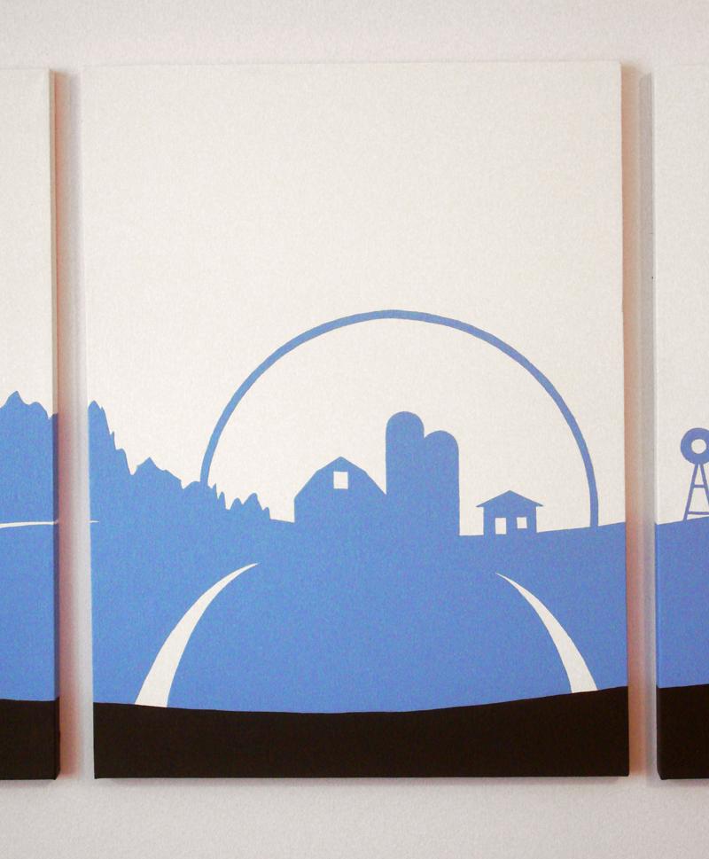 Blue barn farm abstract wall art for sale by Ricky Colson