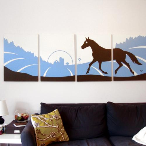 Blue horse silhouette modern painting for sale by Ricky Colson