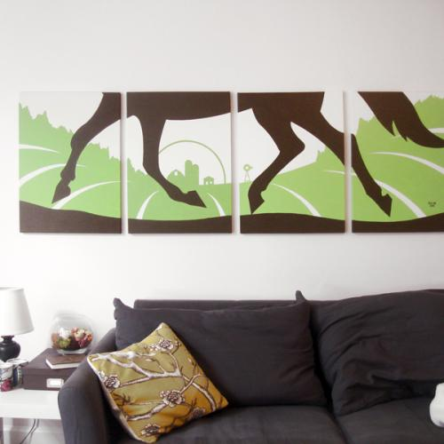 Green horse painting modern wall art for sale by Ricky Colson