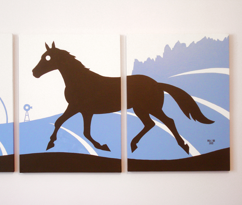 Blue horse running modern silhouette painting for sale by Ricky Colson