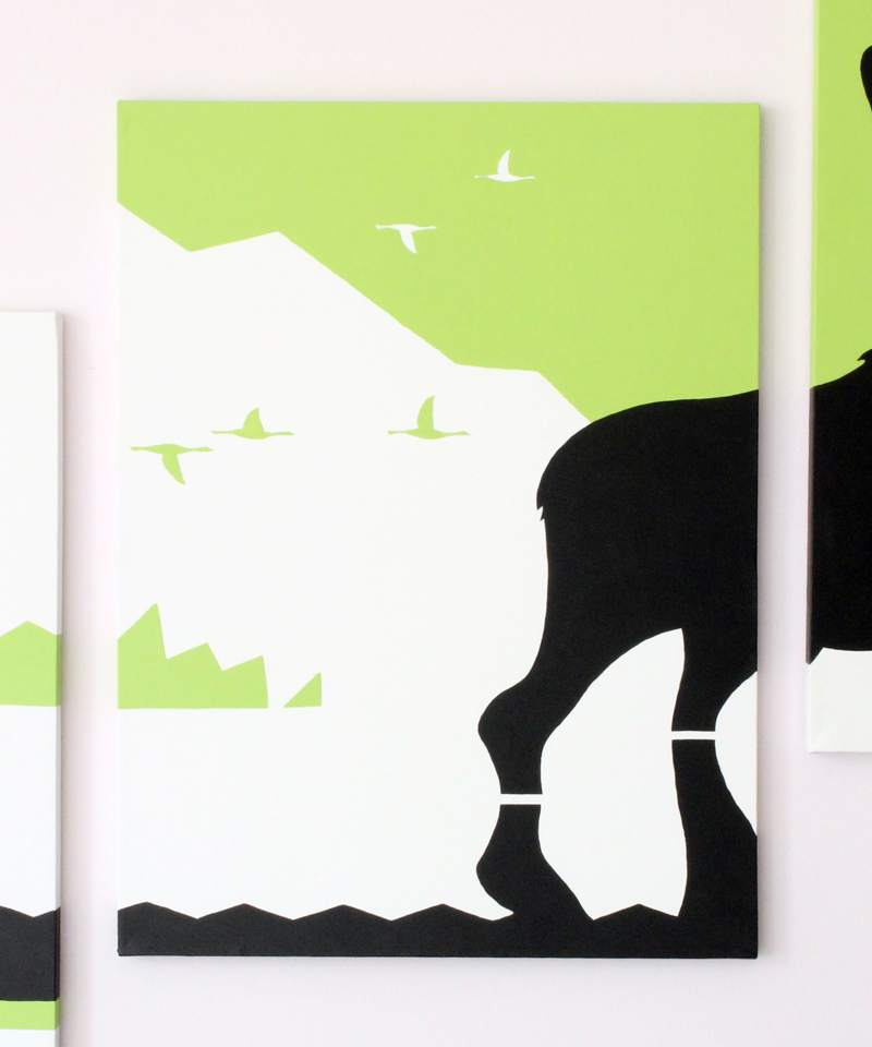 Green geese and moose abstract artwork by Ricky Colson