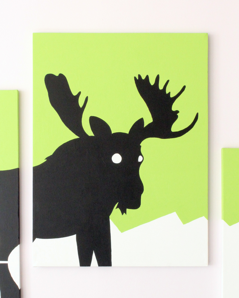Green moose portrait wall art by Ricky Colson