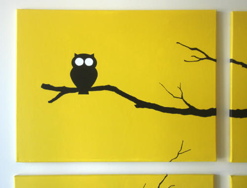Baby yellow owl wall art by Ricky Colson
