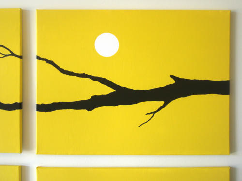 Yellow moon wall art by Ricky Colson
