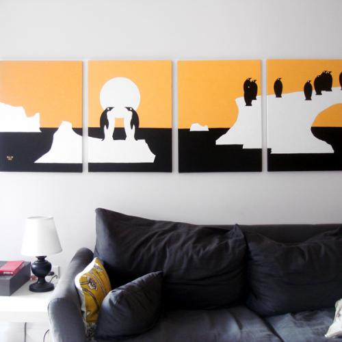 Penguin orange black modern silhouette painting for sale by Ricky Colson