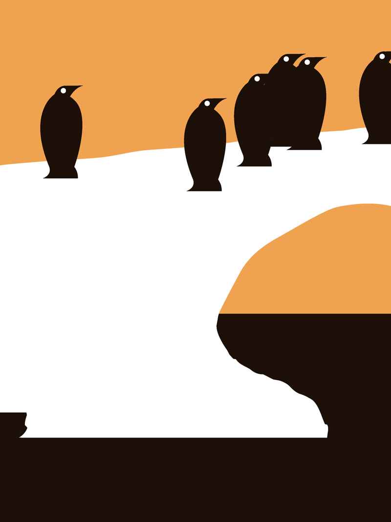 Penguin black and orange silhouette design for sale by Ricky Colson