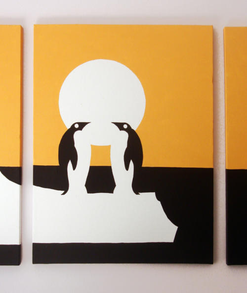 Emperor penguins in love orange panel paintings by Ricky Colson