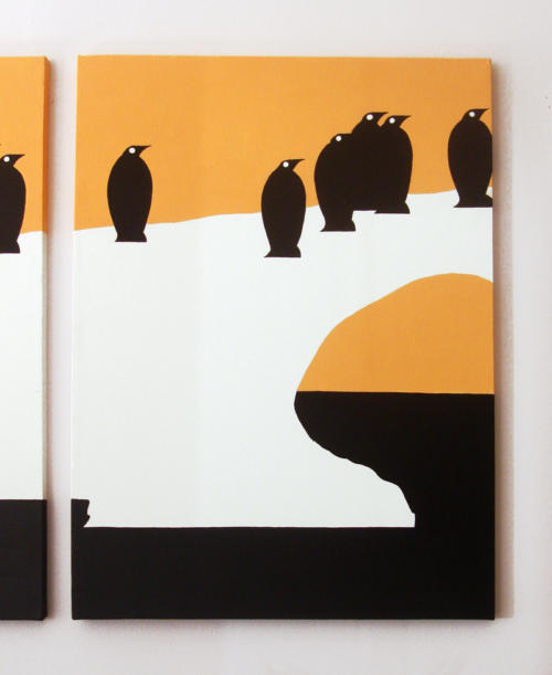 Orange and black penguin painting for sale by Ricky Colson