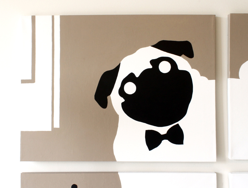 Pug pet dog with bow tie portrait painting for sale by Ricky Colson