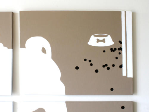 Pug bow tie food bowl wall art by Ricky Colson
