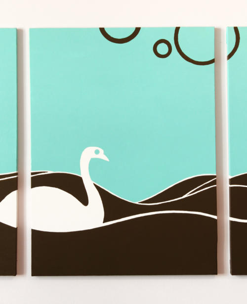 Swan turquoise wall art for sale by Ricky Colson