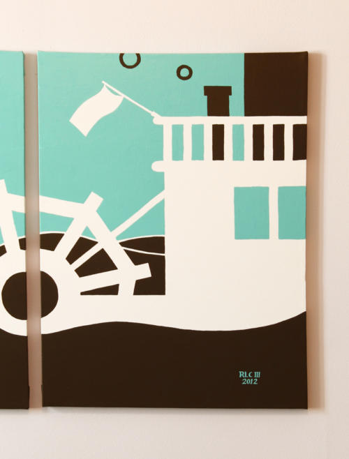 Blue steamboat ferry wall art by Ricky Colson