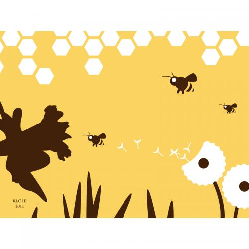Yellow bee flower art print for sale by Ricky Colson
