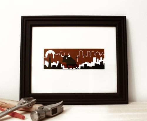 Bull red and black framed modern art print for sale by Ricky Colson