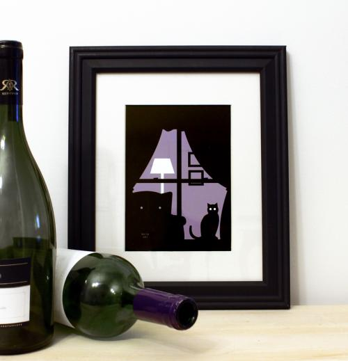 Purple cat in window framed silhouette art print for sale by Ricky Colson