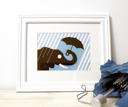 Elephant rain framed blue art print for sale by Ricky Colson