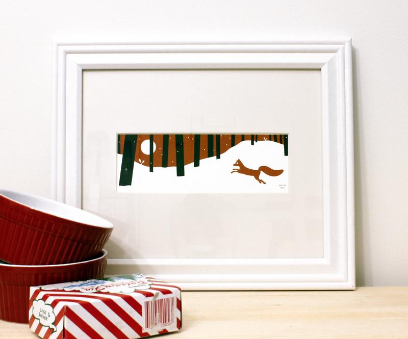 Red snow fox framed Christmas art print for sale by Ricky Colson
