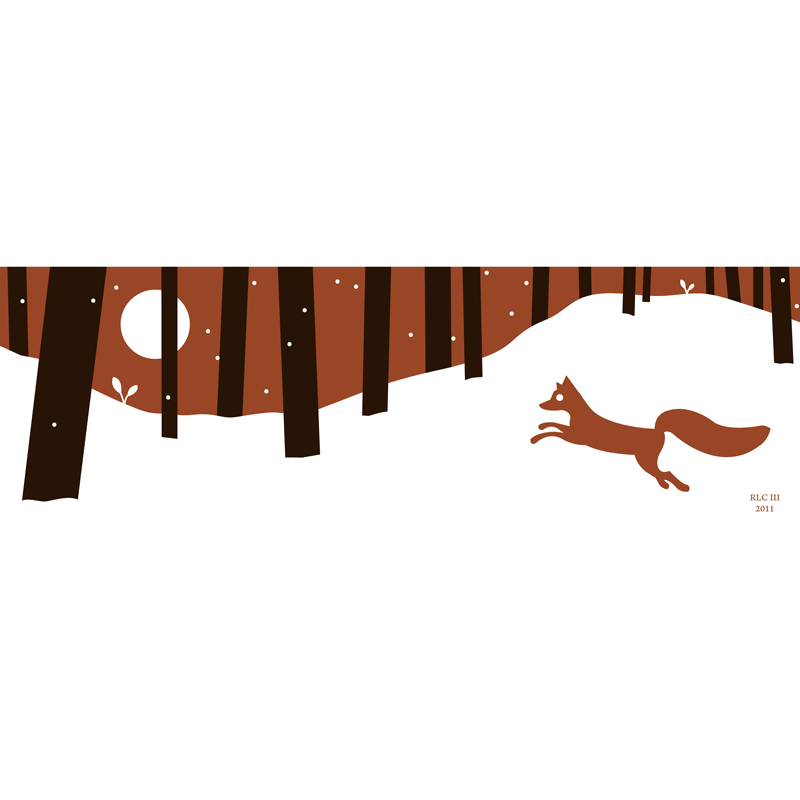 Red fox winter forest modern silhouette art print for sale by Ricky Colson
