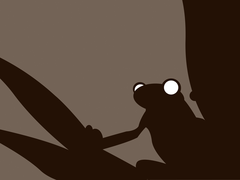Tree frog night black and white modern silhouette art print for sale by Ricky Colson