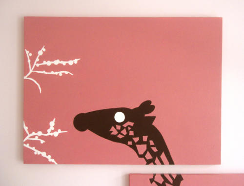 Pink and white giraffe wall art painting by Ricky Colson